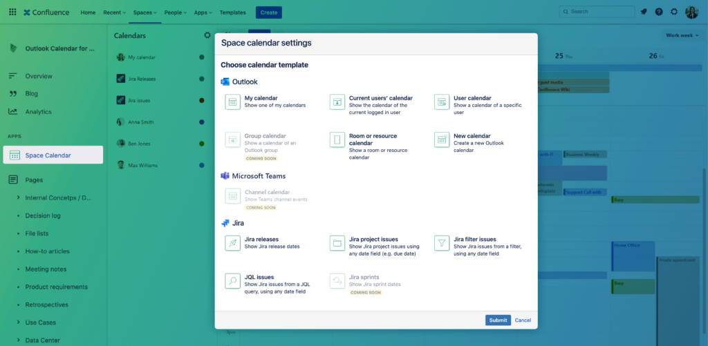 Outlook Calendars for Confluence Templates