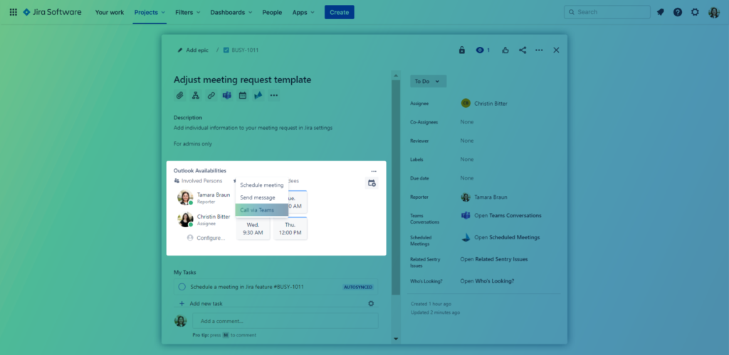 Outlook Meetings for Jira