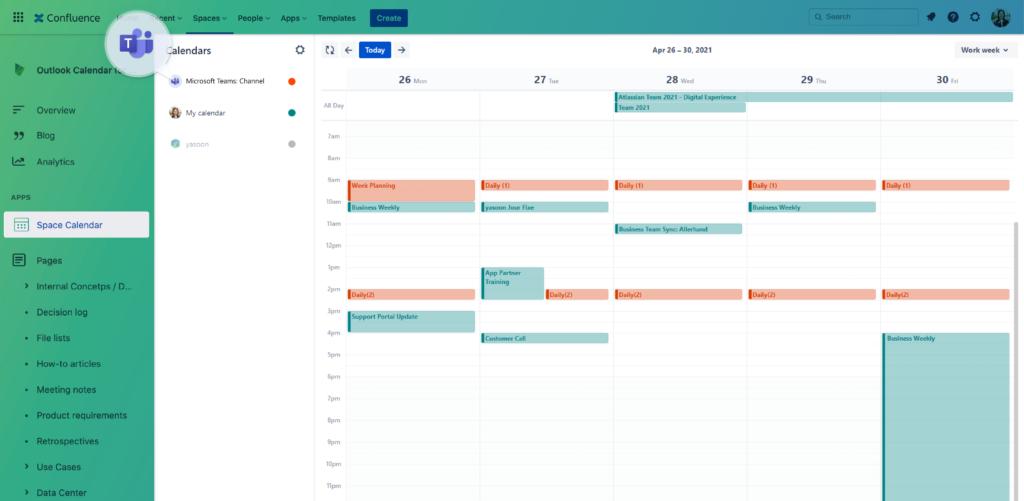 Outlook Calendars for Confluence - Microsoft Teams calendars