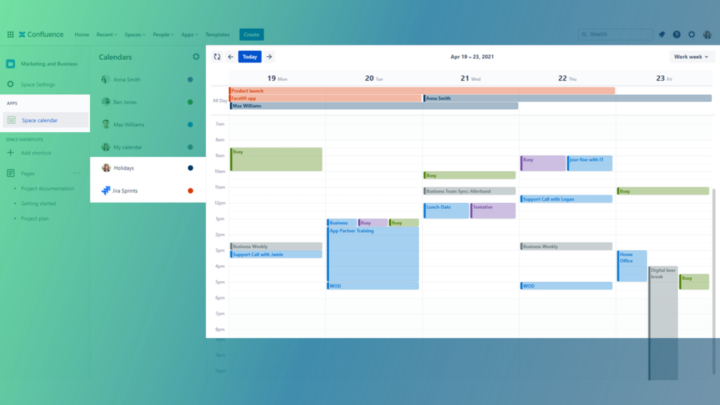 Outlook Calendars for Confluence - Project Management with Jira sprints